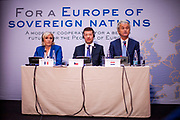 """Press conference of the European anti-migrant parties """"Europe of Nations and Freedom"""" (ENF) in Prague. Attending were Marie Le Pen from France (left), Geert Wilders from Holland (right) and Tomio Okamura of the Freedom and Direct Democracy (SPD) movement from Czech Republic which was hosting the meeting. Prague, 16.12.2017"""