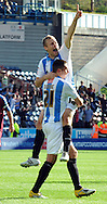 Picture by Graham Crowther/Focus Images Ltd. 07763140036.10/9/11 .Scot Arfield & Lee Novak  of Huddersfield celebrate the 2nd goal against opponents  Tranmere during the Npower League 1 game at the Galpharm Stadium, Huddersfield.