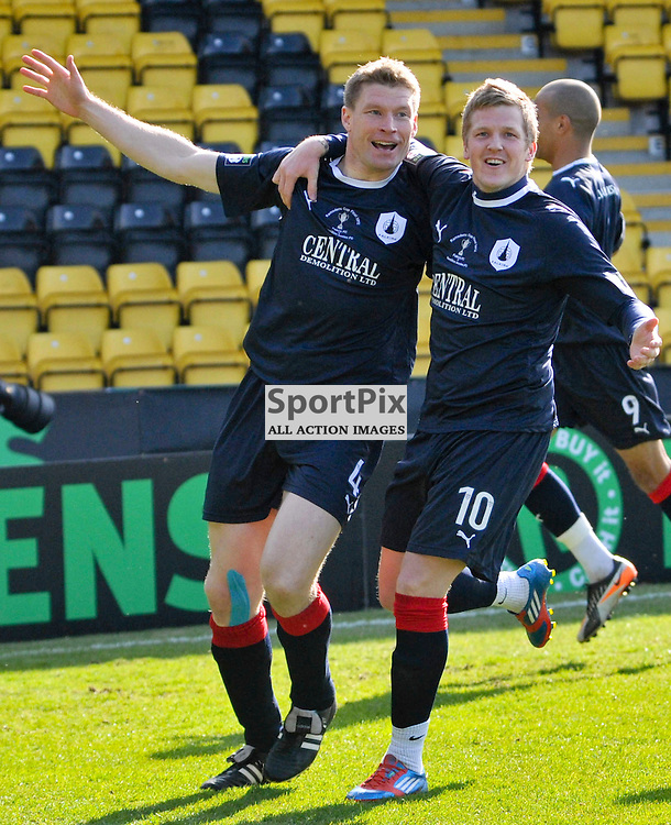Darren Dods (4) celebrates scoring a goal with Willie Gibson (10). Falkirk FC Vs Hamilton FC in Ramsdens Cup Final at Livingston Almondvale Stadium today.