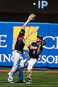 Sacramento River Cats right fielder Ryan Lollis (2) catches the ball in front of  Sacramento River Cats center fielder Myles Schroder (19) during the first inning as the River Cats play their final game of the season against the Fresno Grizzlies at Raley Field, Monday Sep 5, 2016.<br /> photo by Brian Baer