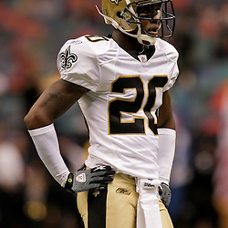 2009 August 14: New Orleans Saints cornerback Jason David (29) in warm ups prior to the start of a preseason opener between the Cincinnati Bengals and the New Orleans Saints at the Louisiana Superdome in New Orleans, Louisiana.
