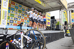 The Rabo-Liv Cycling Team appear on the sign-on podium before the Aviva Women's Tour 2016 - Stage 4. A 119.2 km road race from Nottingham to Stoke-on-Trent, UK on June 18th 2016.