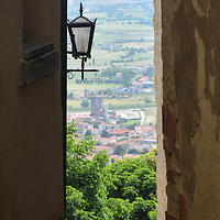 Looking over the valley from the hilltop town of Cortona, Italy
