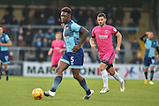 Wycombe Wanderers Defender, Anthony Stewart (5) beats  Hartlepool United Forward, Padraig Among (9) to the ball during the EFL Sky Bet League 2 match between Wycombe Wanderers and Hartlepool United at Adams Park, High Wycombe, England on 26 November 2016. Photo by Adam Rivers.