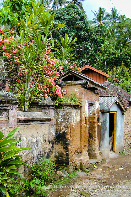 Bali, Karangasem, Tenganan. A traditional Bali Aga village. The buildings are mainly built of bricks and stone.