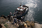Tourist boat 'Dale Princess' arrival Skomer Island, Pembrokeshire, Wales