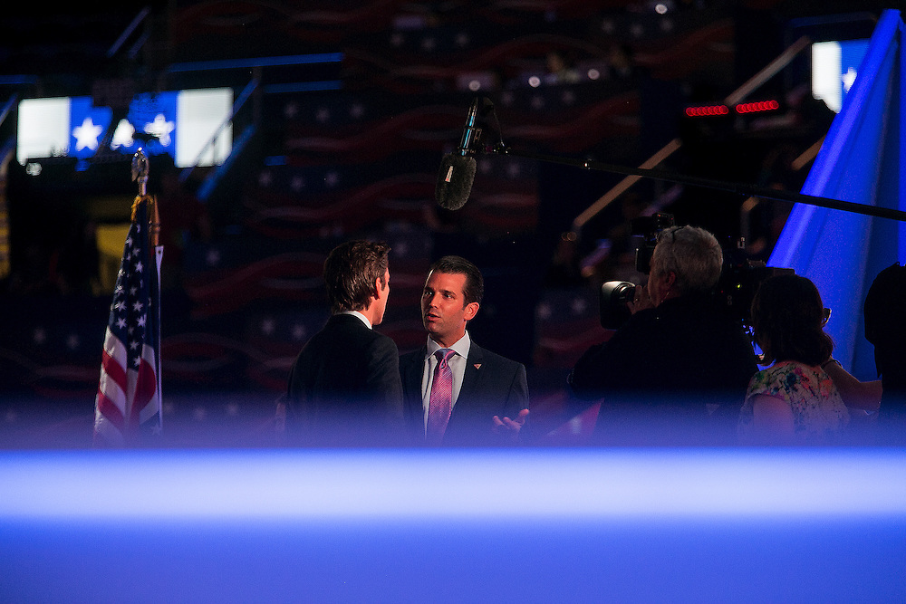 CLEVELAND, OH - JULY  19, 2016: Donald Trump, Jr, the son of Republican presidential candidate Donald J. Trump, during an interview inside the Quicken Loans Arena on the second day of the Republican National Convention, in Cleveland, Ohio. CREDIT: Sam Hodgson for The New York Times. <br /> <br /> NYTRNC