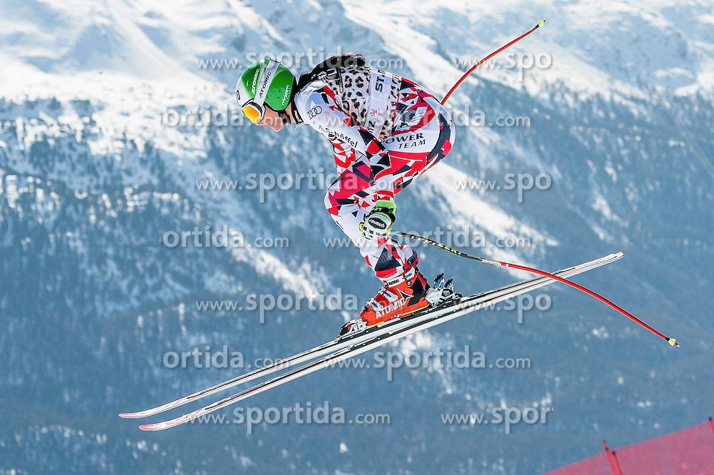 14.03.2016, Engiadina, St. Moritz, SUI, FIS Weltcup Ski Alpin, St. Moritz, Abfahrt, Damen, 1. Training, im Bild Mirjam Puchner (AUT) // competes in her 1st training run for the ladie's Downhill of st. Moritz Ski Alpine World Cup finals at the Engiadina in St. Moritz, Switzerland on 2016/03/14. EXPA Pictures &copy; 2016, PhotoCredit: EXPA/ Freshfocus/ Manuel Lopez<br /> <br /> *****ATTENTION - for AUT, SLO, CRO, SRB, BIH, MAZ only*****