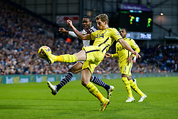 Jan Vertonghen of Tottenham Hotspur clears from Brown Ideye of West Brom - Photo mandatory by-line: Rogan Thomson/JMP - 07966 386802 - 31/01/2015 - SPORT - FOOTBALL - West Bromwich, England - The Hawthorns - West Bromwich Albion v Tottenham Hotspur - Barclays Premier League.