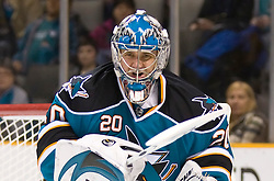 December 11, 2009; San Jose, CA, USA; San Jose Sharks goalie Evgeni Nabokov (20) during the first period against the Dallas Stars at HP Pavilion. Dallas defeated San Jose 3-2 in the 11th round of a shootout. Mandatory Credit: Jason O. Watson / US PRESSWIRE