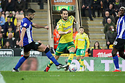 Norwich City midfielder Mario Vrancic (8) is bought down on the edge of the box which lead to his late equaliser from the free kick during the EFL Sky Bet Championship match between Norwich City and Sheffield Wednesday at Carrow Road, Norwich, England on 19 April 2019.
