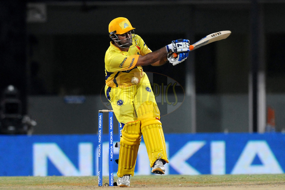 Mahendra Singh Dhoni captain of Chennai Super Kings bats during match 3 of the NOKIA Champions League T20 ( CLT20 )between the Chennai Superkings and the Mumbai Indians held at the M. A. Chidambaram Stadium in Chennai , Tamil Nadu, India on the 24th September 2011..Photo by Pal Pillai/BCCI/SPORTZPICS