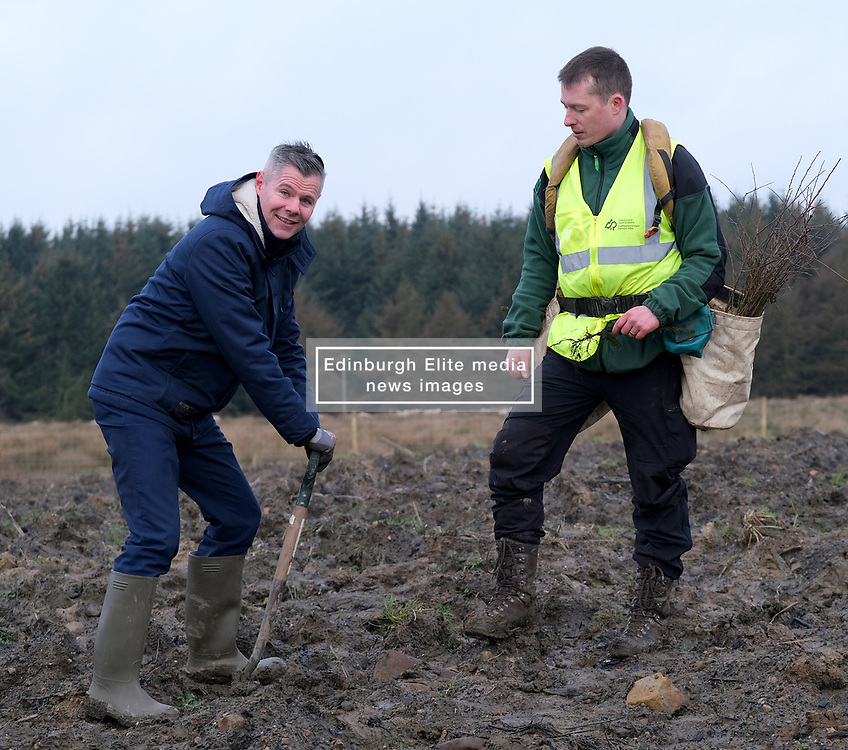**All images embargoed until 00:01 6 February**<br /> <br /> Derek Mackay Tree Planting, 5 February 2020<br /> <br /> Finance Secretary Derek Mackay visited Thornton Wood near Kelty in Fife ahead of publishing the Scottish Budget on Thursday 6 February.<br /> <br /> Tackling the global climate emergency will be at the heart of this week's Budget.<br /> <br /> During the visit, Mr Mackay planted a tree as part of the Scottish Government's commitment to support forestry creation through planting 12,000 hectares of woodland this year. This will be supported by an additional £5 million investment.<br /> <br /> The site is run by Forestry and Land Scotland, and is a former opencast mining site which is now being restored to forestry.<br /> <br /> Pictured: Finance Secretary Derek Mackay with Forestry and Land Scotland worker James Hand<br /> <br /> Alex Todd | Edinburgh Elite media
