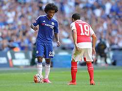 Willian of Chelsea looks to go past Santi Cazorla of Arsenal - Mandatory byline: Paul Terry/JMP - 07966386802 - 02/08/2015 - Football - Wembley Stadium -London,England - Arsenal v Chelsea - FA Community Shield