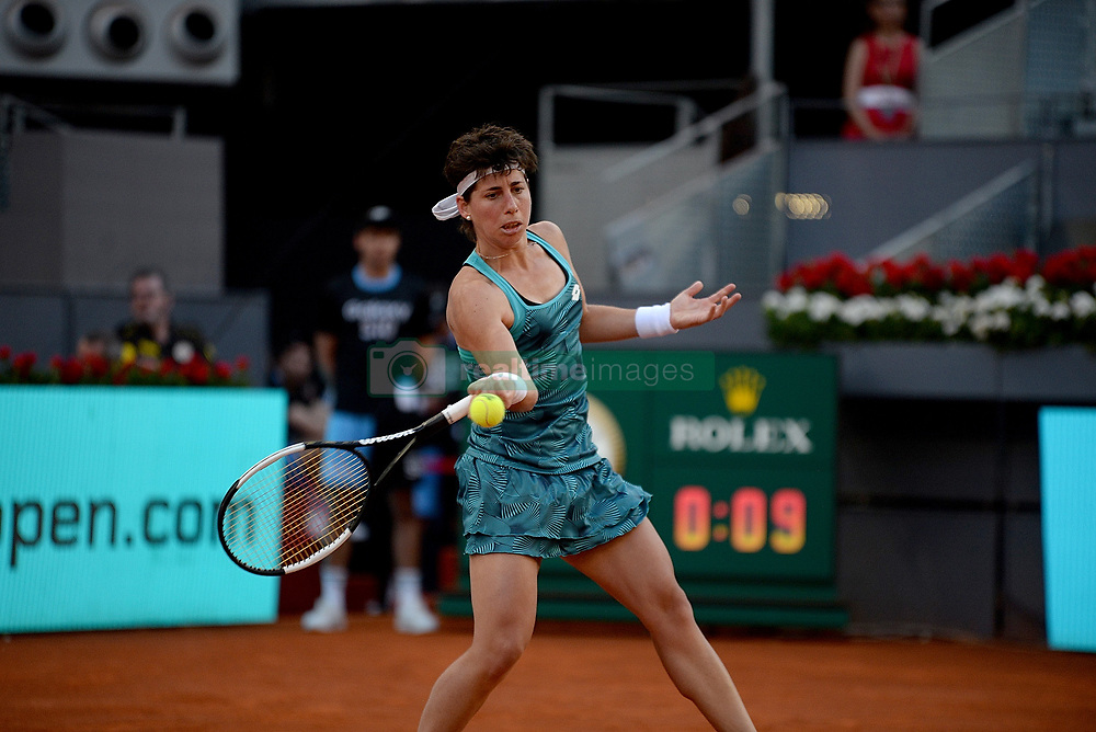 May 6, 2019 - Madrid, Spain - Carla Suarez (SPA) in her match against Viktoria Kuzmova ( SVK) during day three of the Mutua Madrid Open at La Caja Magica in Madrid on 6th May, 2019. (Credit Image: © Juan Carlos Lucas/NurPhoto via ZUMA Press)