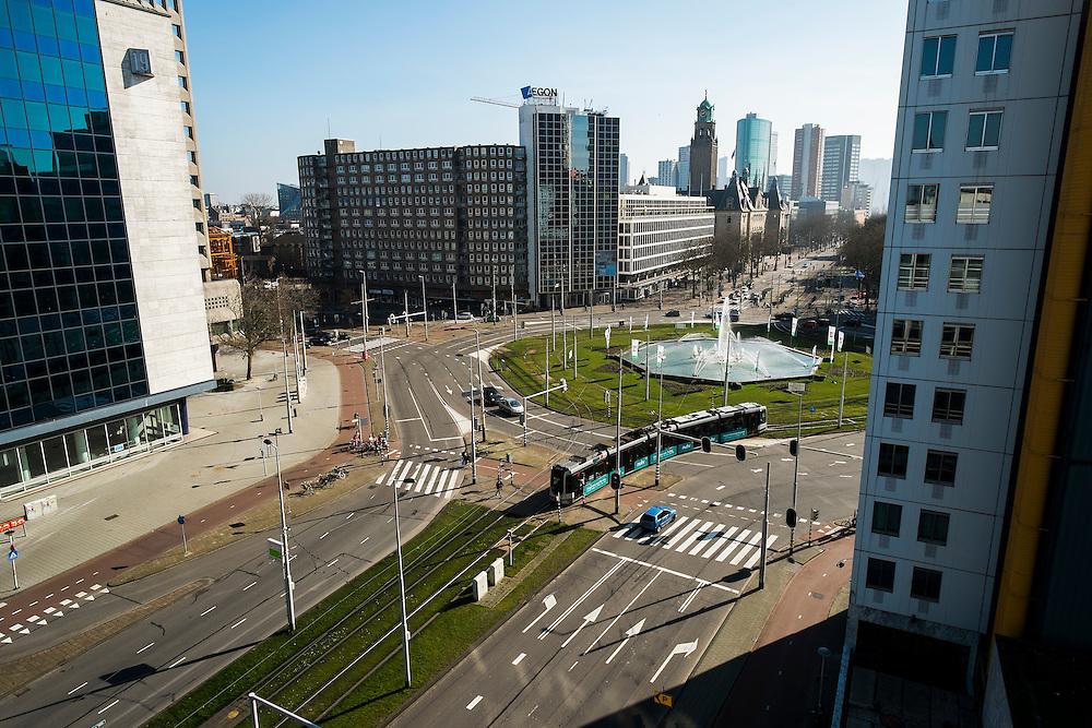 Nederland, Rotterdam, 9 maart 2014<br />  Stadsgezicht, stadsbeeld, hofplein en coolsingel<br /> Foto(c): Michiel Wijnbergh