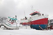Fishing boats in Sund Flakstadoya Loftofen Norway