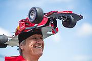 June 7-11, 2018: Canadian Grand Prix. Fan wearing a custom made Ferrari hat