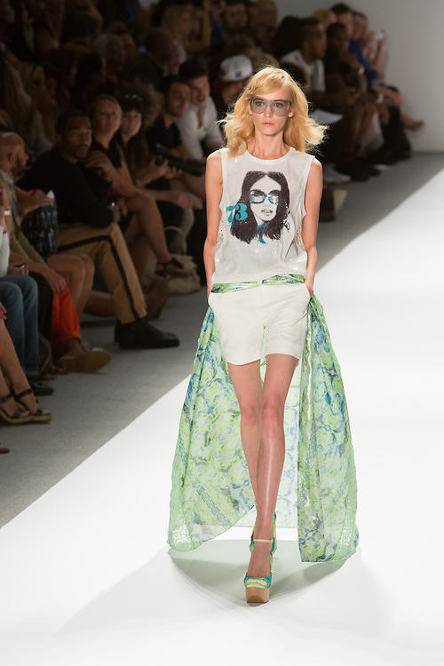 Shorts with a printed gauze train and a sleeveless tee. By Custo Barcelona at the Spring 2013 Fashion Week show in New York.