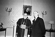 18/07/1967<br /> 07/18/1967<br /> 18 July 1967<br /> Cardinal John Cody, Archbishop of Chicago, received by President Eamon de Valera at Aras an Uachtarain. Cardinal Cody (elevated to Cardinal on June 26, 1967) was leading a pilgrimage of 350 American pilgrims, who were to visit the shrine of Blessed Oliver Plunkett in Drogheda on his feast day the 19th July.