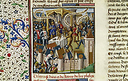 The Capture of Acre by the Crusaders (1191?) during the First Crusade.  From 'Speculum Majus' by Vincent de Beauvais (c1190-1264) French Dominican monk and encyclopaedist.. 15th century manuscript. Chantilly Library.
