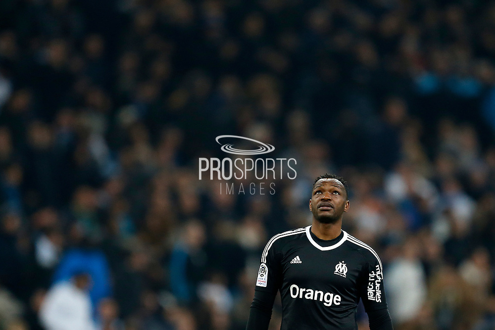 Olympique de Marseille's French goalkeeper Steve Mandanda reacts during the French Championship Ligue 1 football match between Olympique de Marseille and AS Monaco on January 28, 2018 at the Orange Velodrome stadium in Marseille, France - Photo Benjamin Cremel / ProSportsImages / DPPI