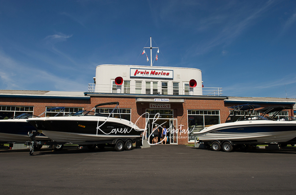 Irwin Marine established in 1919 serving their customers in the Lakes Region of New Hampshire.  (Karen Bobotas for New England Boating Magazine)