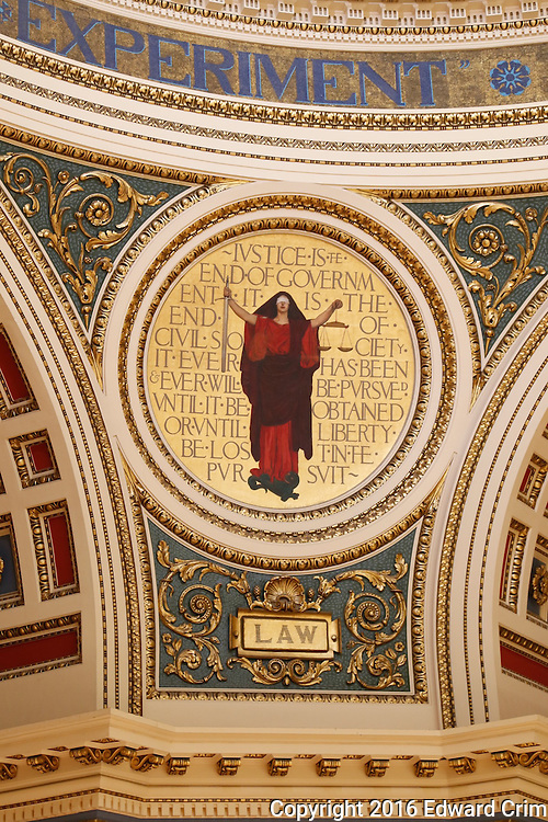 "The pendentive medallion ""Law"" in the rotunda of the Pennsylvania capitol in Harrisburg."