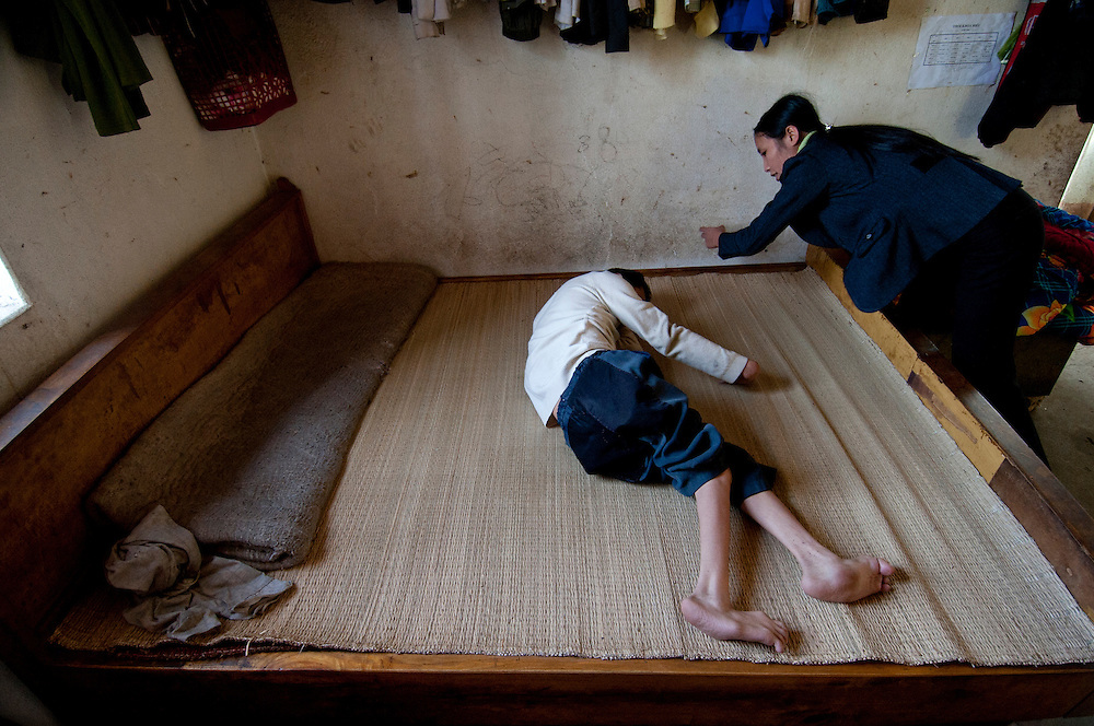 In Lai Chau Provinve, Northern Vietnam, DOLISA (Department of Labour, Invalids and Social Affairs) organizes community-based rehabilitation (CBR) programmes. According the the World Health Organization (WHO), CBR 'focuses on enhancing the quality of life for people with disabilities and their families, meeting basic needs and ensuring inclusion and participation. CBR was initiated in the mid-1980s but has evolved to become a multi-sectoral strategy that empowers persons with disabilities to access and benefit from education, employment, health and social services. CBR is implemented through the combined efforts of people with disabilities, their families, organizations and communities, relevant government and non-government health, education, vocational, social and other services.' [source: WHO]