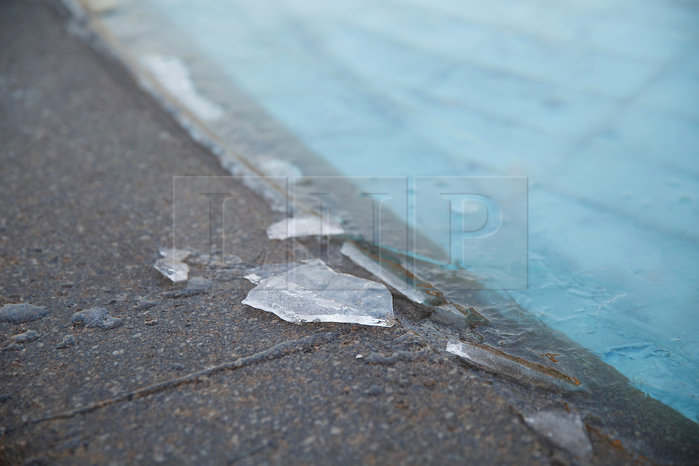 © Licensed to London News Pictures. 02/02/2015. LONDON, UK. The water fountains in Trafalgar Square freeze as temperatures drop below zero in London on Monday, 2 February 2015. Photo credit : Tolga Akmen/LNP