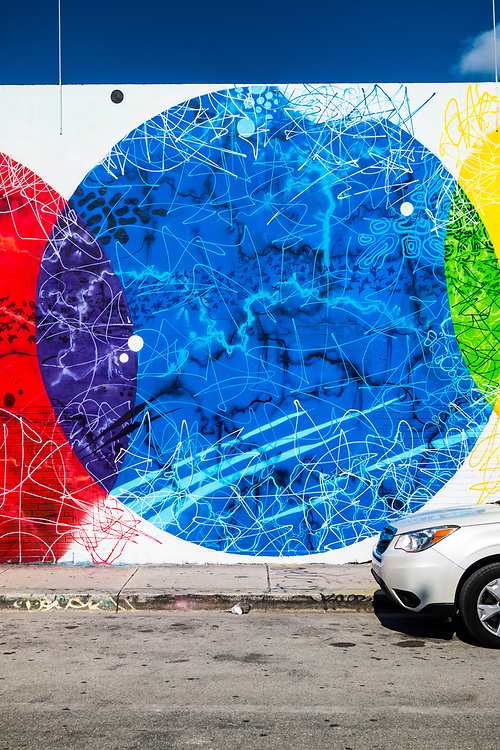 Detail of a spectacular mural in Miami's Wynwood arts district.