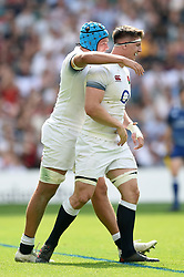 Zach Mercer of England celebrates his try with team-mate Tom Curry - Mandatory byline: Patrick Khachfe/JMP - 07966 386802 - 27/05/2018 - RUGBY UNION - Twickenham Stadium - London, England - England v Barbarians - Quilter Cup