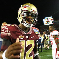 Florida State Seminoles quarterback Deondre Francois (12) is seen after a NCAA football game between the Ole Miss Rebels and the Florida State Seminoles at Camping World Stadium on September 5, 2016 in Orlando, Florida. (Alex Menendez via AP)