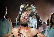 Jesus Christ Superstar <br /> by Tim Rice &amp; Andrew Lloyd Webber <br /> at The Regent's Park Open Air Theatre, London, Great Britain <br /> press photocall<br /> 19th July 2016 <br /> <br /> Declan Bennett as Jesus <br /> <br /> Tyrone Huntley as Judas <br /> <br /> <br /> <br /> Photograph by Elliott Franks <br /> Image licensed to Elliott Franks Photography Services