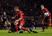 Photo: Jed Wee.<br />Liverpool v Anderlecht. UEFA Champions League.<br />01/11/2005.<br /><br />Liverpool's John Arne Riise is sent tumbling in the penalty area.