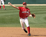 Nebraska shortstop Ryan Wehrle fires the ball to first base against Kansas State.  Nebraska held on to be Kansas State 5-4 at Tointon Stadium in Manhattan, Kansas, April 1, 2006.
