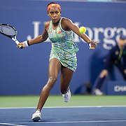 2019 US Open Tennis Tournament- Day Four.  Coco Gauff of the United States in action against Time Babos of Hungary in the Women's Singles Round Two match on Louis Armstrong Stadium at the 2019 US Open Tennis Tournament at the USTA Billie Jean King National Tennis Center on August 29th, 2019 in Flushing, Queens, New York City.  (Photo by Tim Clayton/Corbis via Getty Images)