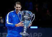 Tennis - 2019 Nitto ATP Finals at The O2 - Day Six<br /> <br /> Singles Group Andre Agassi: Rafael Nadal (Spain) Vs. Stefanos Tsitsipas (Greece)<br /> <br /> Rafael Nadal (Spain) with his ATP World No. 1 Trophy <br /> <br /> COLORSPORT/DANIEL BEARHAM<br /> <br /> COLORSPORT/DANIEL BEARHAM