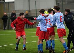 Colaiste Chiarain Athlone celebrate their schools win at full time.<br />Pic Conor McKeown