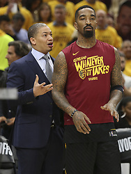 May 7, 2018 - Cleveland, OH, USA - Cleveland Cavaliers' head coach Tyronn Lue talks with J.R. Smith just before the start of Game 4 against the Toronto Raptors on Monday, May 7, 2018 in Cleveland, Ohio. (Credit Image: © Phil Masturzo/TNS via ZUMA Wire)