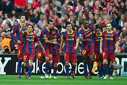 28-05-2011 VOETBAL: CHAMPIONS LEAGUE FINAL FC BARCELONA - MANCHESTER UNITED: LONDON<br /> Rodriguez celebrates scoring the first goal against Manchester United with team-mates Sergio Busquets, Lionel Messi, David Villa, Eric Abidal, Andres Iniesta<br /> ***NETHERLANDS ONLY***<br /> ©2011- FotoHoogendoorn.nl/nph/Chris Brunskill