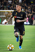 LAFC forward Brian Rodriguez (20) moves the ball  during an MLS soccer match against the Minnesota United. Minnesota United defeated the LAFC 2-0 on Sunday Sept. 1 2019, in Los Angeles. (Ed Ruvalcaba/Image of Sport)