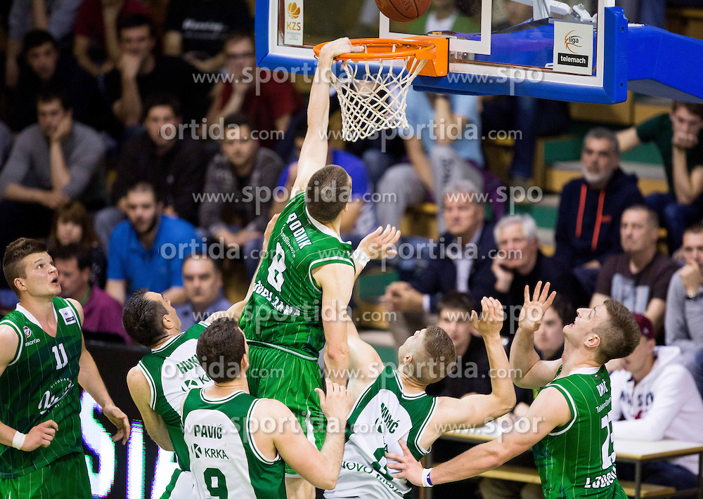 Jaka Brodnik of Union Olimpija during basketball match between KK Krka and KK Union Olimpija in 10th Round of Slovenian National Championship 2013/14, on April 28, 2014 in Dvorana Leona Stuklja, Novo mesto, Slovenia. Photo by Vid Ponikvar / Sportida