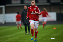 MERTHYR, WALES - Tuesday, February 14, 2017: Wales' Anna Morphet warms-up before the Women's Under-17's International Friendly match against Hungary at Penydarren Park. (Pic by Laura Malkin/Propaganda)