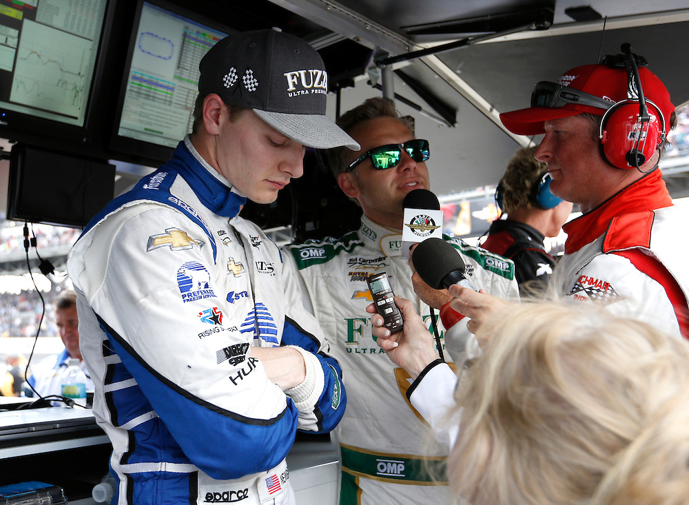 Josef Newgarden shows his disappointment following his third place finish in the 100th running of the Indianapolis 500 May 29, 2016.