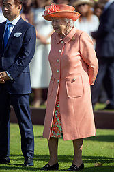 Queen Elizabeth II during the polo at the Guards Polo Club, Windsor Great Park, Egham, Surrey.
