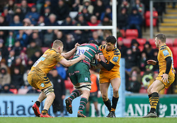 Harry Wells of Leicester Tigers tries to find a way through the Wasps defence - Mandatory by-line: Arron Gent/JMP - 15/02/2020 - RUGBY - Welford Road Stadium - Leicester, England - Leicester Tigers v Wasps - Gallagher Premiership Rugby