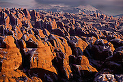 Sunset on the Behind the Rocks Wilderness Study Area and the La Sal Mountains, Moab Southern Utah