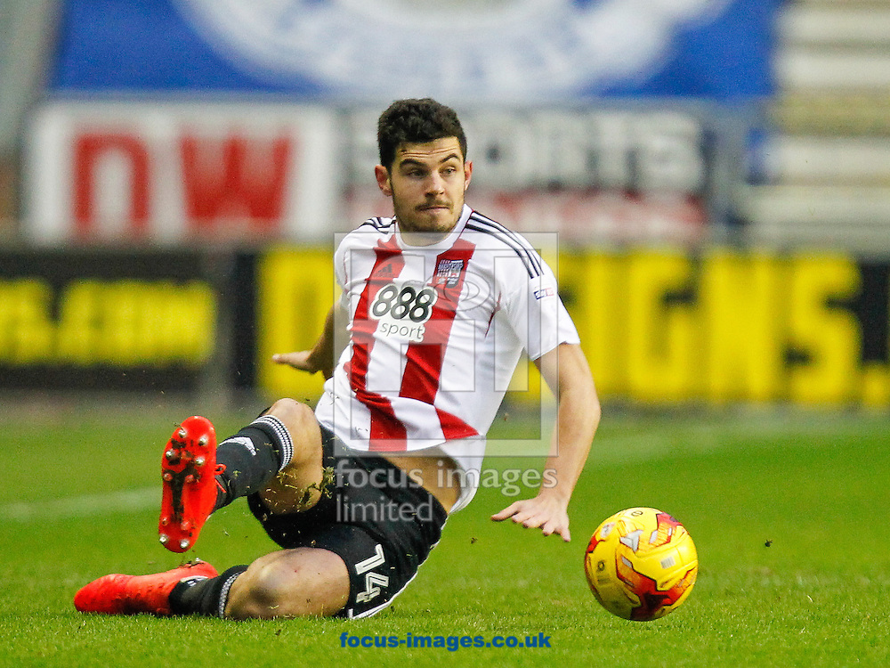 John Egan of Brentford during the Sky Bet Championship match between Wigan Athletic and Brentford at the DW Stadium, Wigan<br /> Picture by Mark D Fuller/Focus Images Ltd +44 7774 216216<br /> 21/01/2017