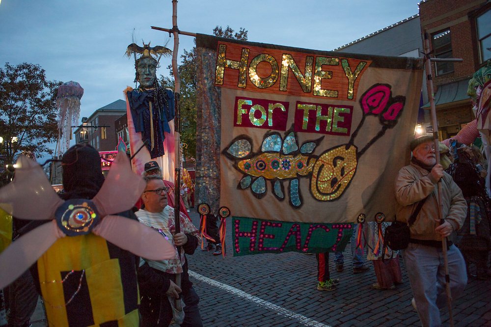 The Honey for the Heart Parade heads up Court Street on October 31, 2015. Photo by Emily Matthews